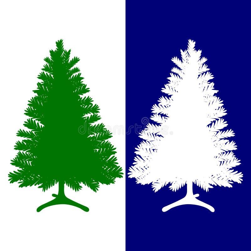 Silueta de verde y de blanco, el árbol de navidad, en un azul y un whi libre illustration
