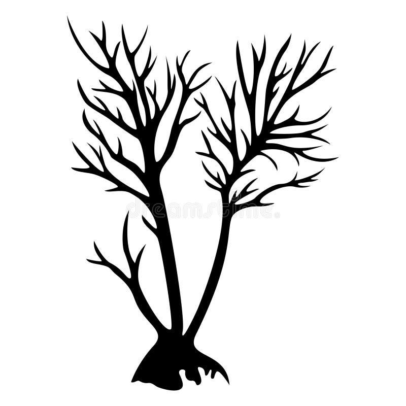 Silueta decorativa del árbol ilustración del vector