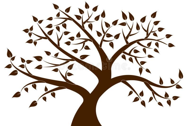 Silueta decorativa del árbol de Brown para su diseño stock de ilustración