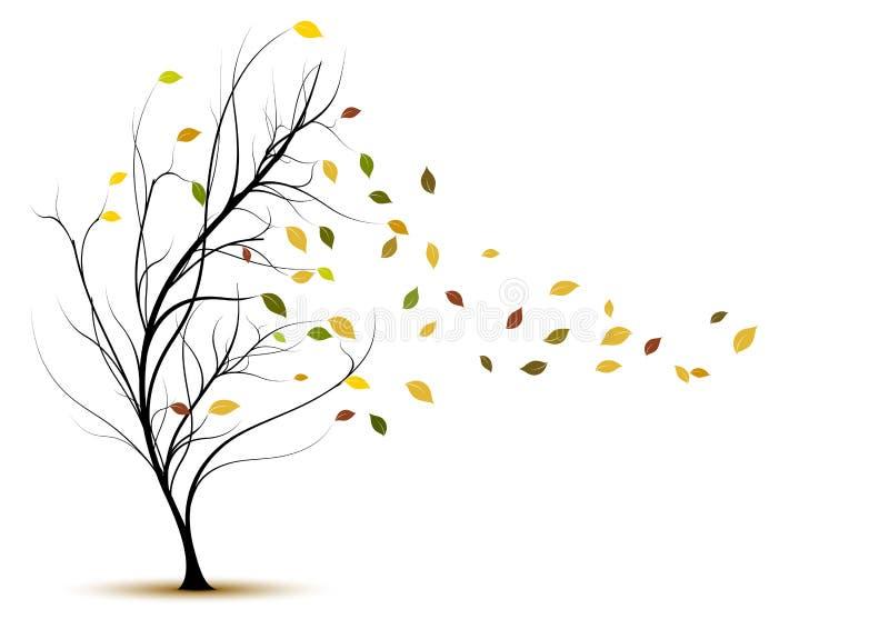 Silueta decorativa del árbol del vector en otoño ilustración del vector