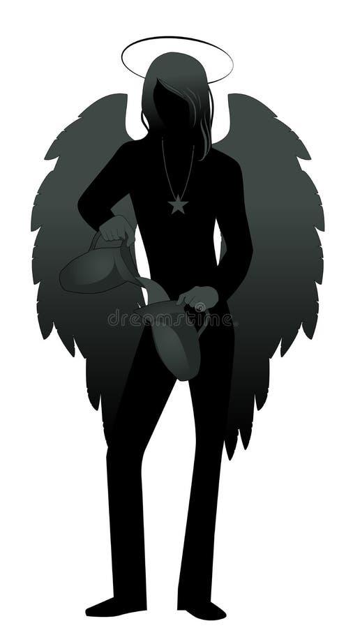 Silueta del ángel con el aspecto y la ropa del hombre joven, grandes alas, pelo justo, agua de colada a partir de un jarro a otro stock de ilustración