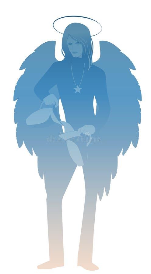 Silueta del ángel con el aspecto y la ropa del hombre joven, grandes alas, pelo justo, agua de colada a partir de un jarro a otro ilustración del vector