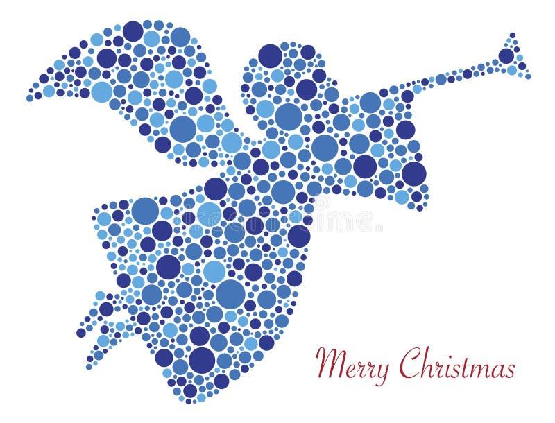 Silueta del ángel de la Feliz Navidad en puntos libre illustration