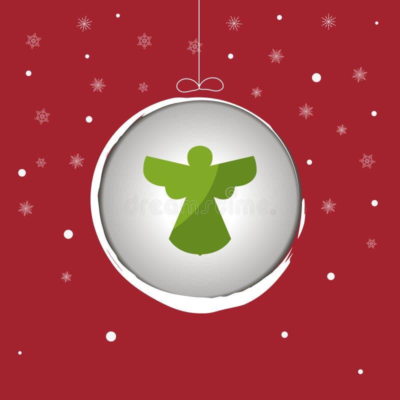 Silueta del ángel de la Navidad con la chuchería ilustración del vector