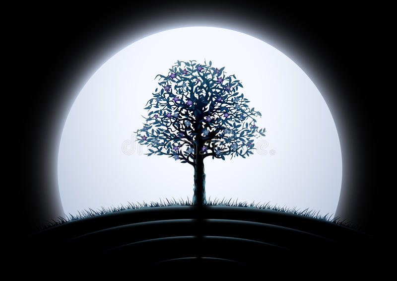 Silueta del árbol de la luna stock de ilustración