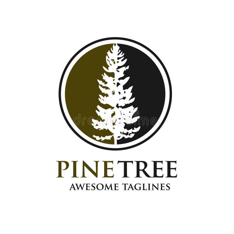 Silueta del árbol de pino con el logotipo del fondo del círculo libre illustration