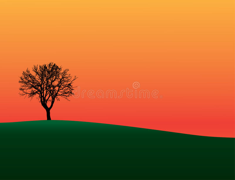 Silueta del árbol en la colina stock de ilustración