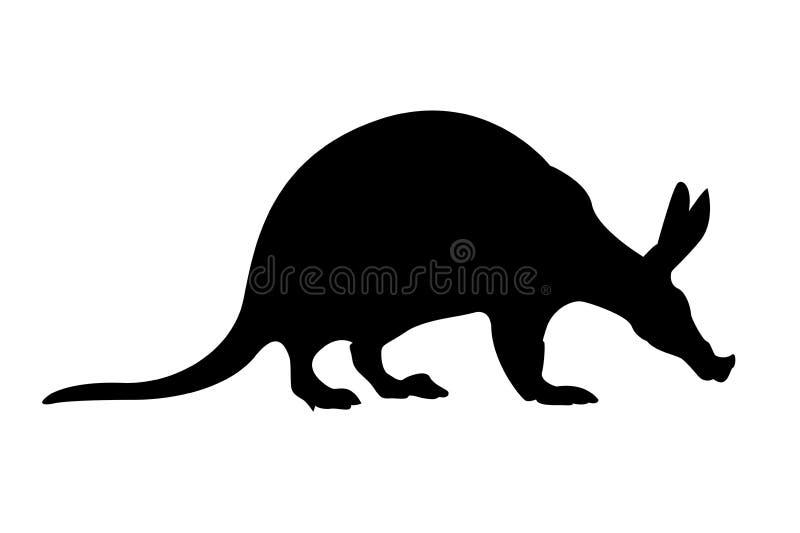 Silueta del Aardvark ilustración del vector