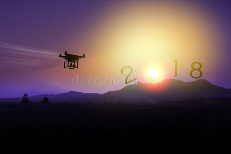 Silueta del abejón que vuela a la montaña al Año Nuevo 2018 fotografía de archivo