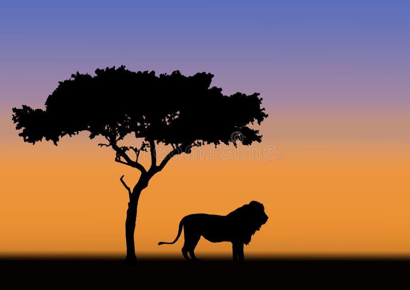 Silueta del acacia y del león stock de ilustración