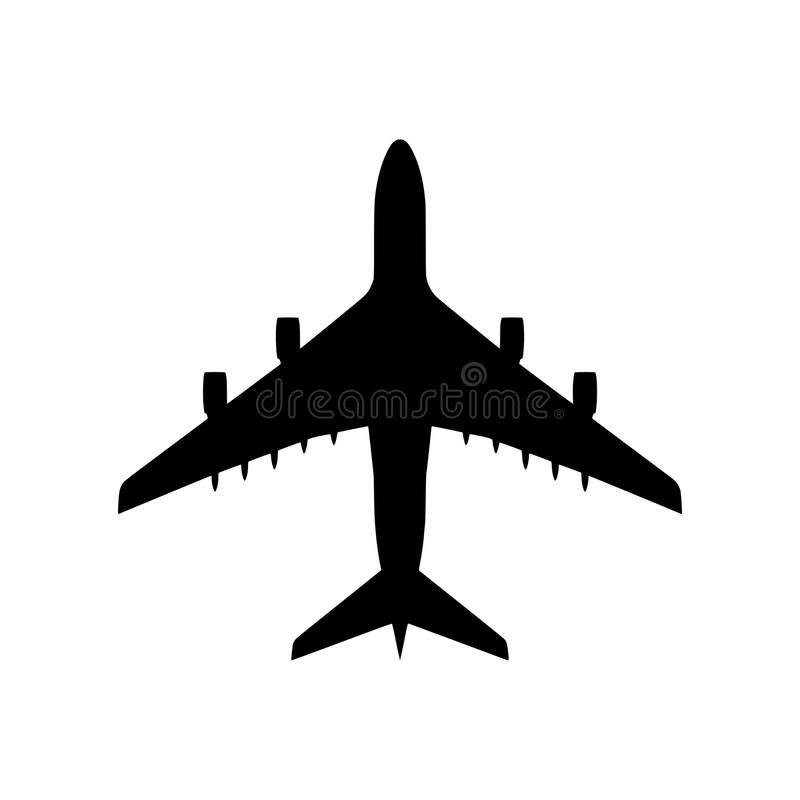 Silueta del aeroplano aislada - png stock de ilustración