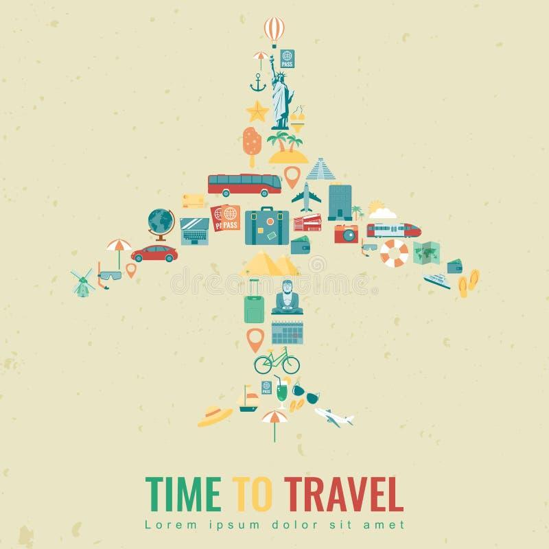 Silueta del aeroplano con los iconos planos del viaje Concepto del recorrido y del turismo Vector ilustración del vector