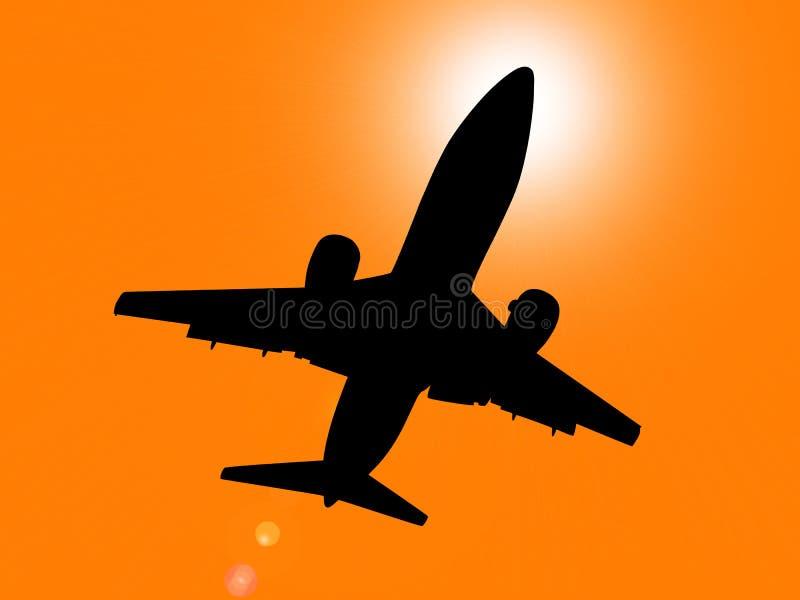 Silueta del aeroplano en la puesta del sol stock de ilustración