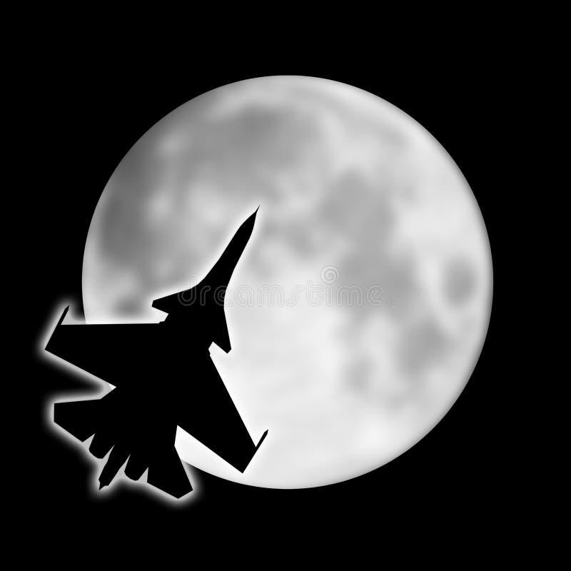 Silueta del aeroplano militar en el fondo de la luna libre illustration