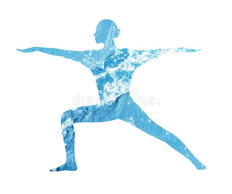 Silueta del agua de la mujer en la posición de la yoga fotos de archivo libres de regalías