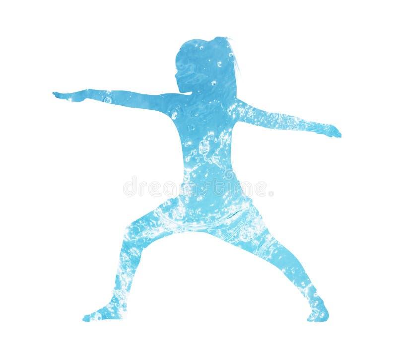 Silueta del agua de la niña en la posición de la yoga libre illustration