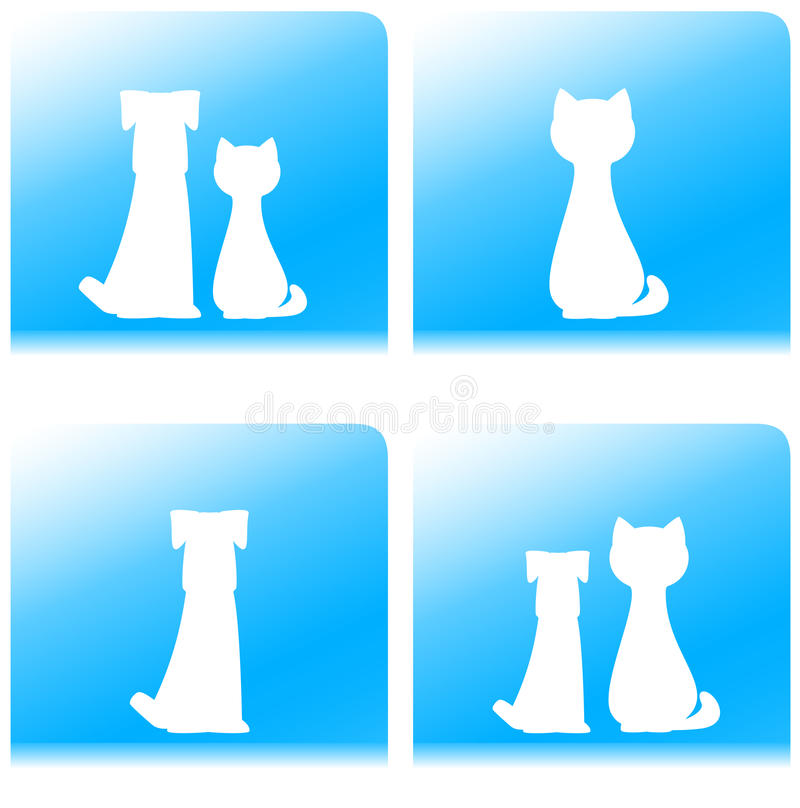 Silueta del animal doméstico - perro y gato en el botón ilustración del vector