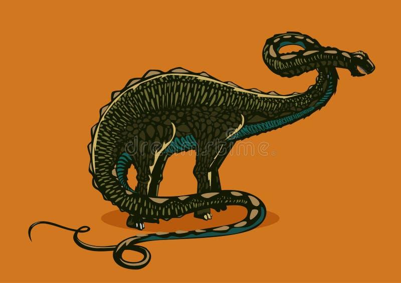 Silueta del apatosaurus del dinosaurio en fondo aislado Brontosaurus del color Grabe el estilo ilustración del vector