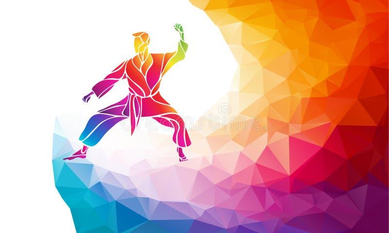 Silueta del arco iris del color del retroceso del salto de los artes marciales Combatiente del karate stock de ilustración