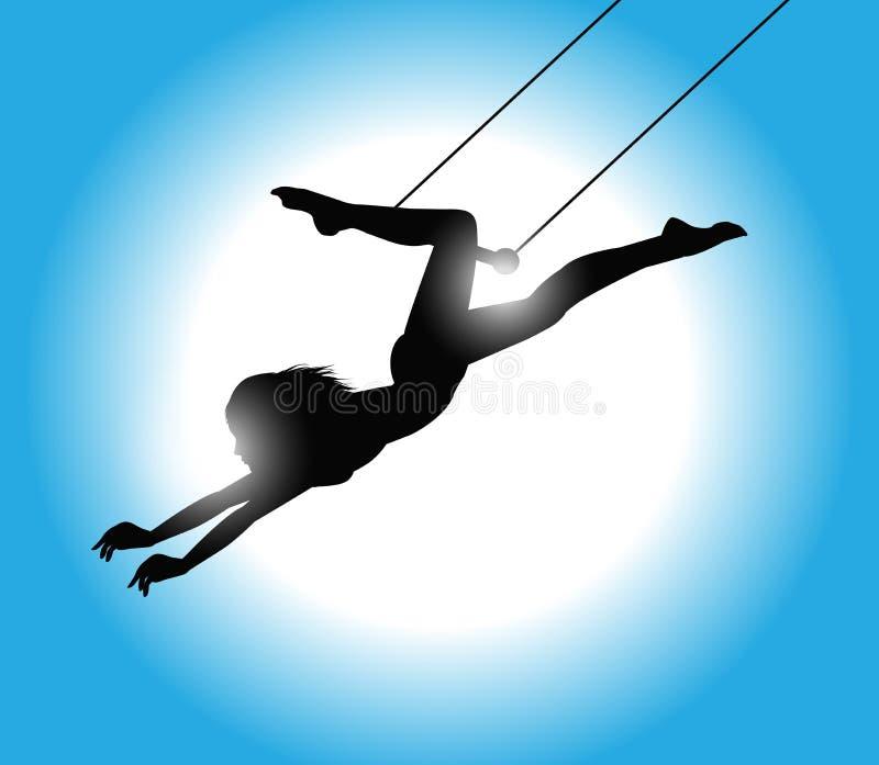 Silueta del artista de trapecio stock de ilustración