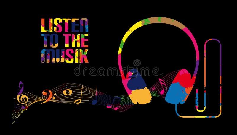 Silueta del auricular con las notas de la música - escuche la música - ejemplo colorido del vector - aislado en fondo negro ilustración del vector