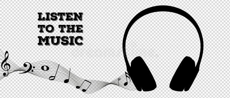 Silueta del auricular con las notas de la música - escuche la música - ejemplo del vector - aislado en fondo transparente libre illustration