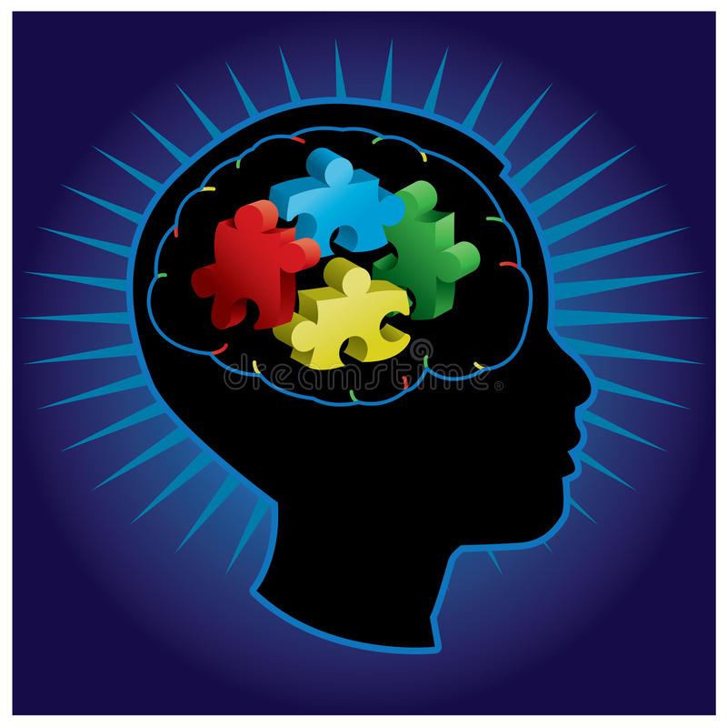 Silueta del autismo de niño ilustración del vector