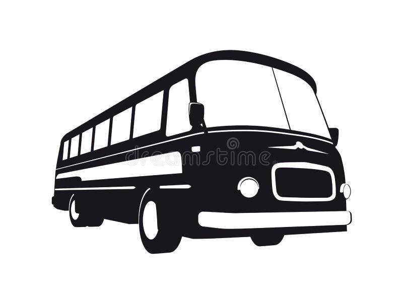 Silueta del autobús del vintage stock de ilustración