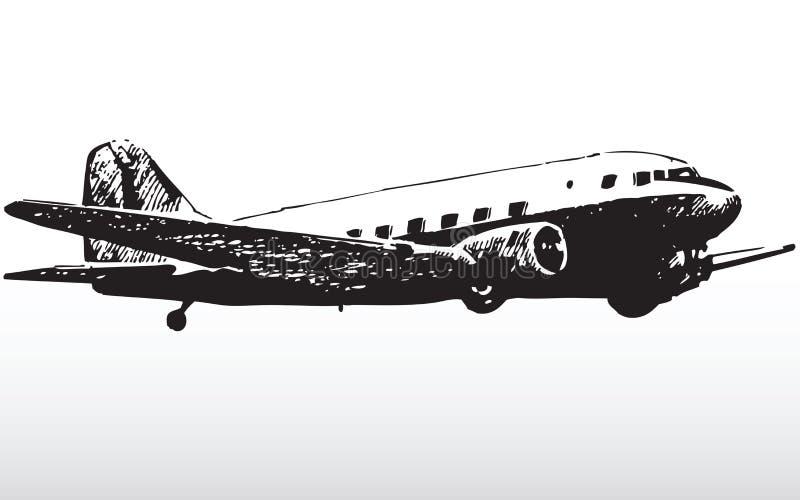 Silueta del avión de reacción stock de ilustración