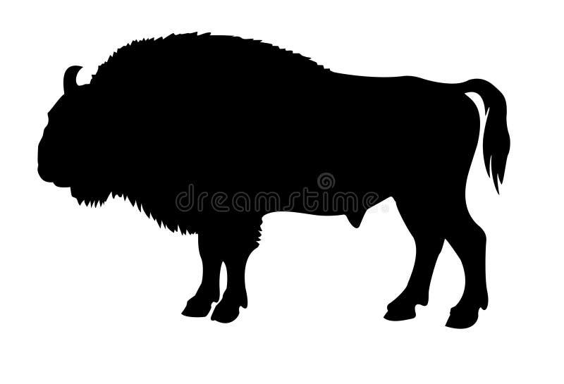 Silueta del búfalo stock de ilustración