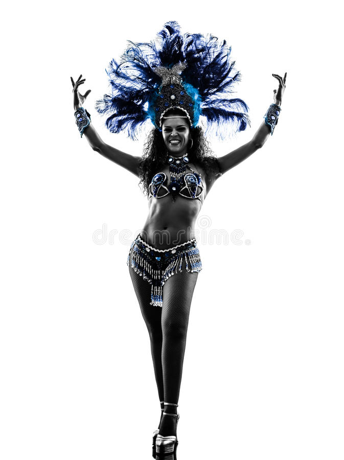 Silueta del bailarín de la samba de la mujer imágenes de archivo libres de regalías