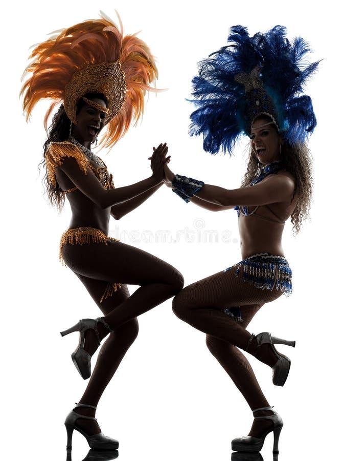 Silueta del bailarín de la samba de las mujeres imágenes de archivo libres de regalías