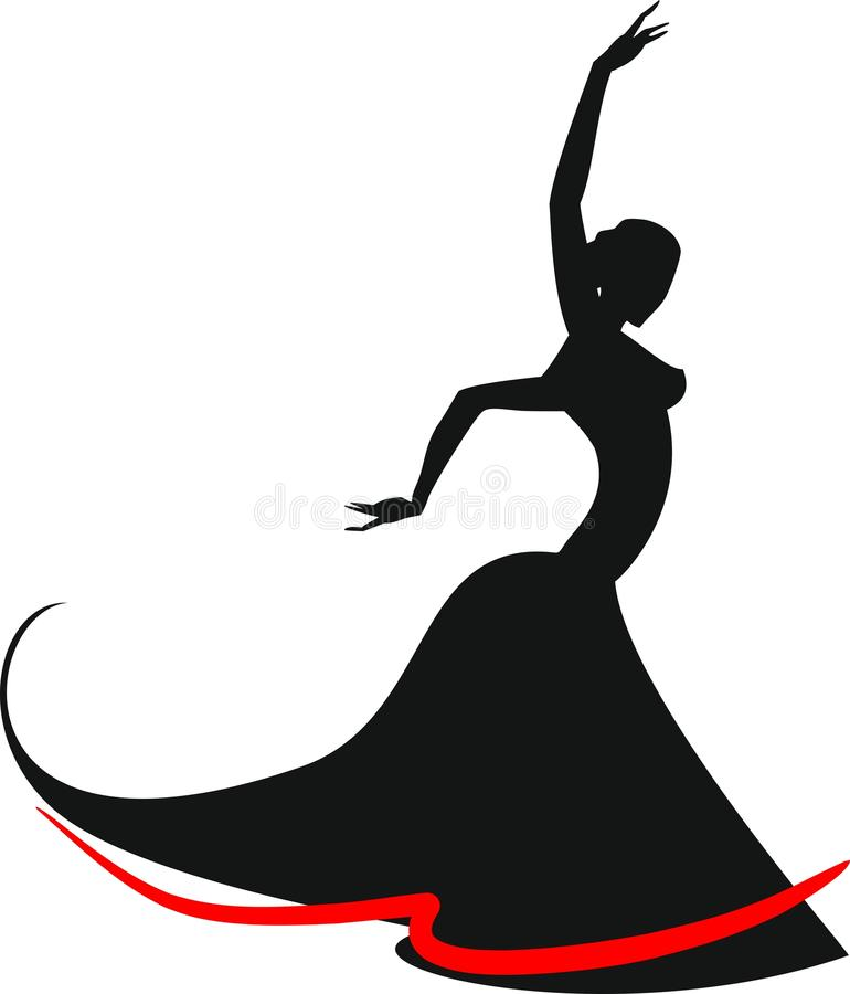 Silueta del bailarín del flamenco stock de ilustración