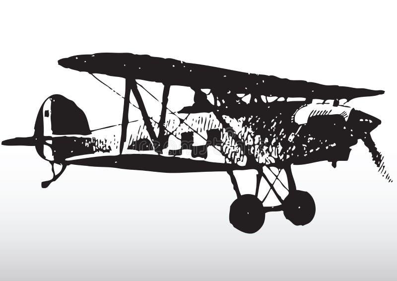 Silueta del biplano libre illustration