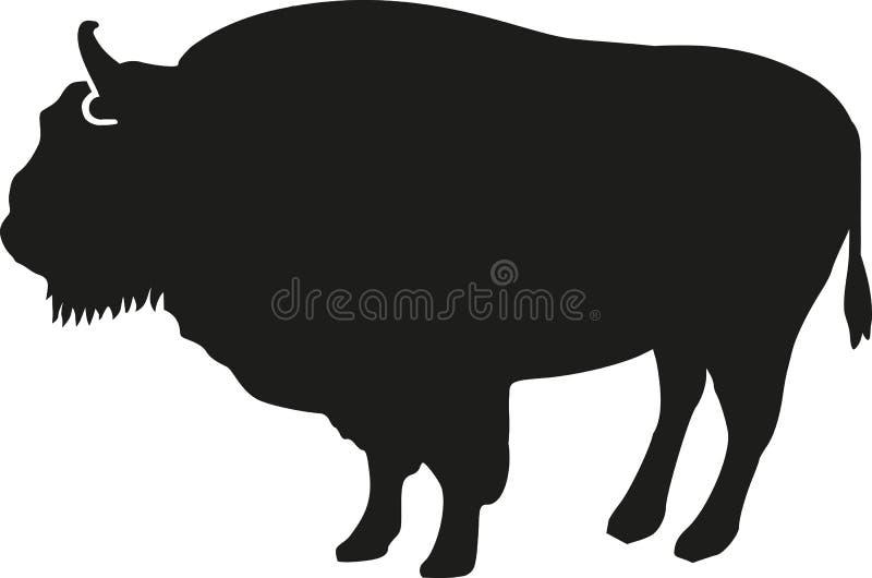 Silueta del bisonte stock de ilustración
