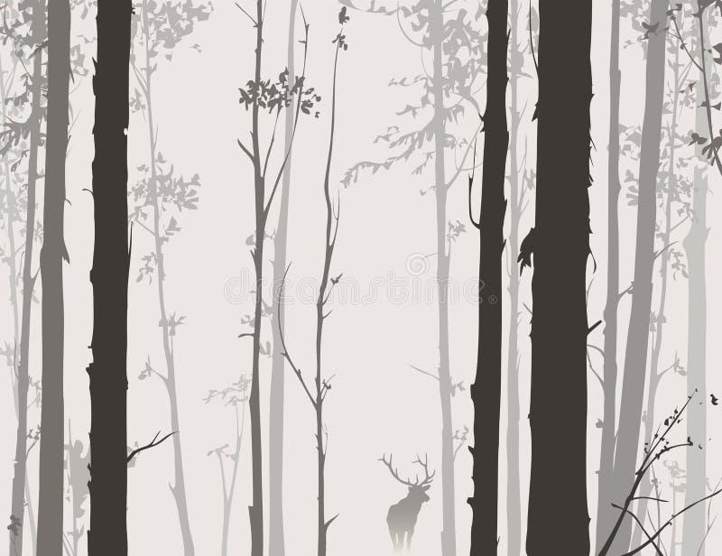 Silueta del bosque con los ciervos ilustración del vector