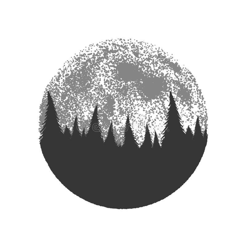 Silueta del bosque en fondo de la Luna Llena libre illustration