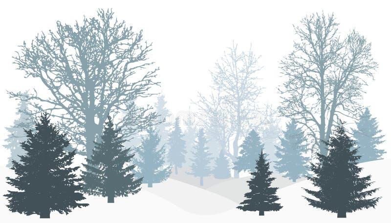 Silueta del bosque nevoso del invierno libre illustration