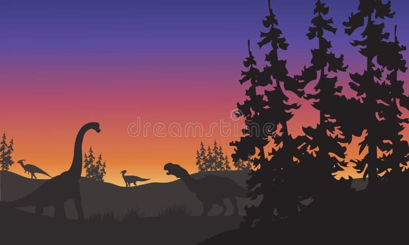 Silueta del Brachiosaurus y de Iguanodon libre illustration