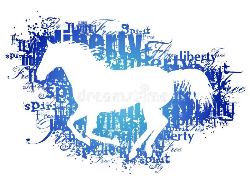 Silueta del caballo con palabras ilustración del vector