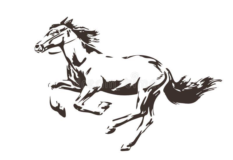 Silueta del caballo corriente enérgico pintado por la tinta Ilustración drenada mano del vector Estilo del bosquejo aislado libre illustration