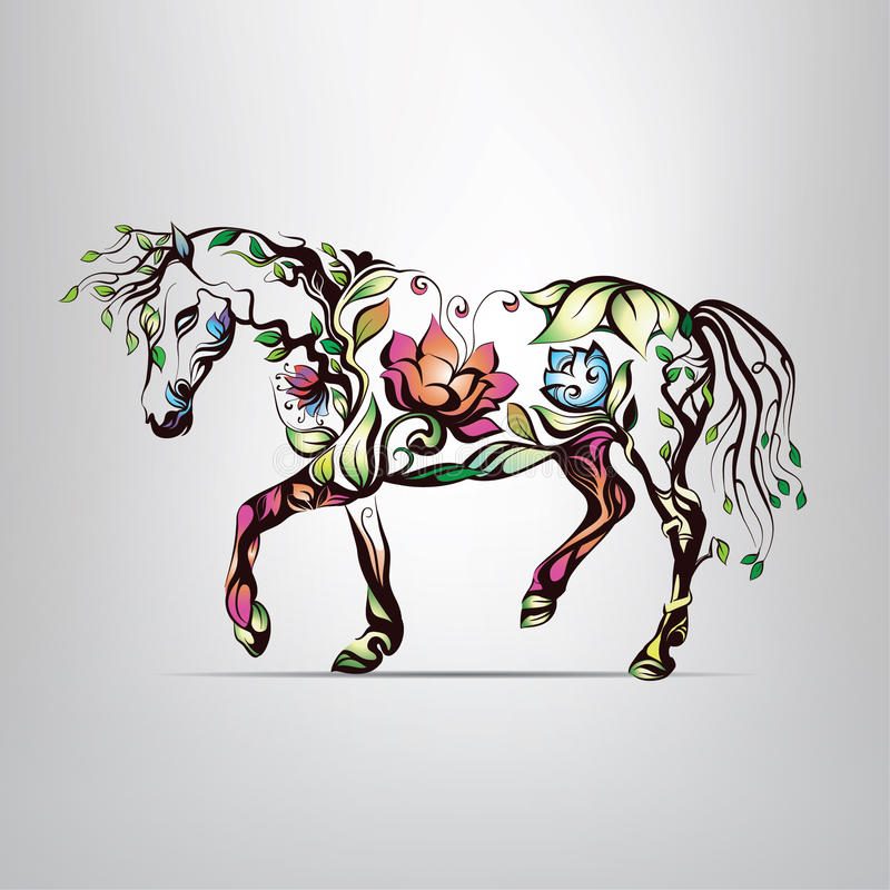 Silueta del caballo del ornamento floral stock de ilustración