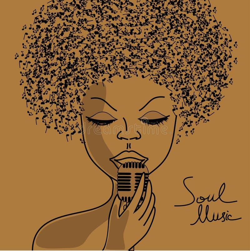 Silueta del cantante con el pelo de las notas musicales stock de ilustración