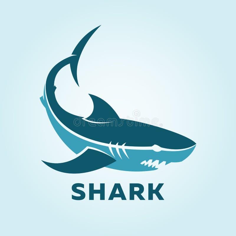Silueta del carácter del tiburón Vista lateral del icono del tiburón stock de ilustración