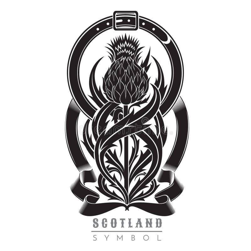 Silueta del cardo con el modelo de la hoja y el marco de la correa Símbolo del negro del elemento del diseño de Escocia stock de ilustración