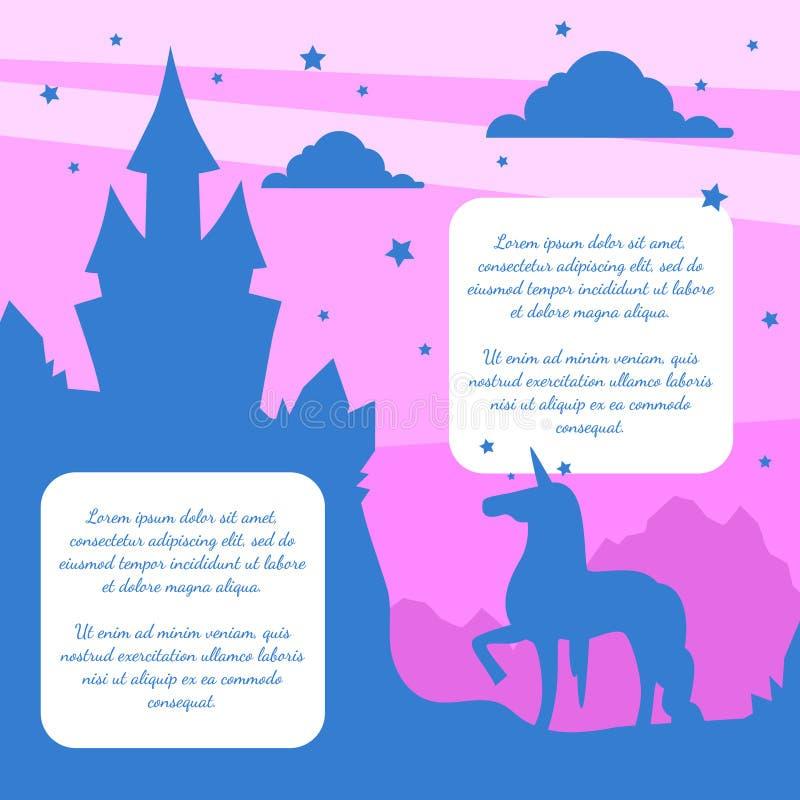 Silueta del castillo mágico y del unicornio del cuento de hadas en el fondo de la puesta del sol, plantilla de la bandera con vec stock de ilustración