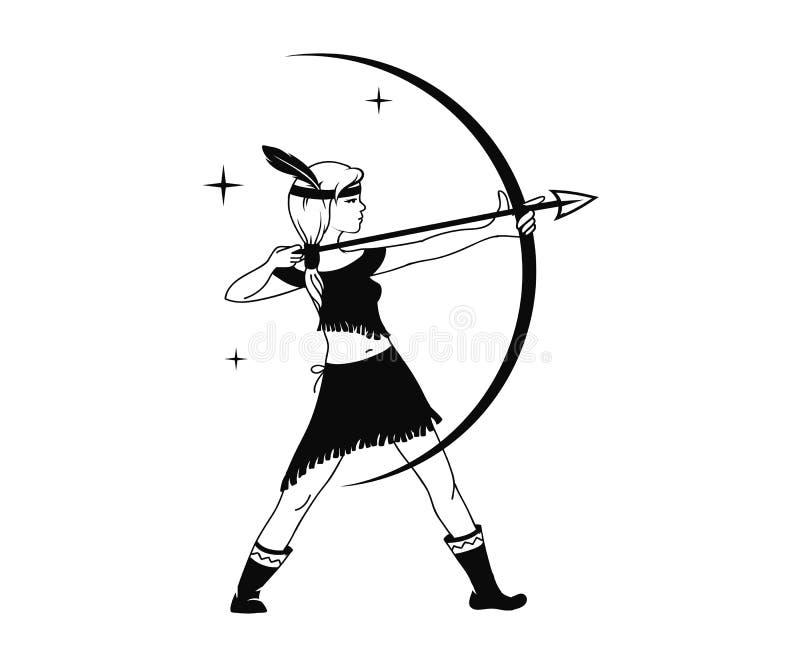 Silueta del cazador de la muchacha stock de ilustración