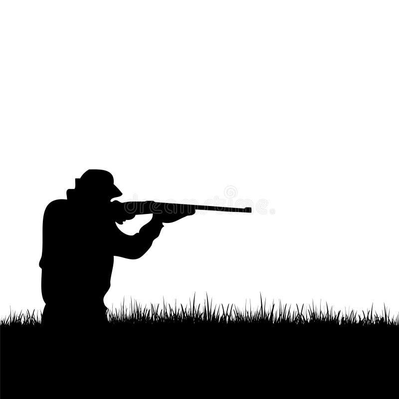 Silueta del cazador de los ciervos stock de ilustración