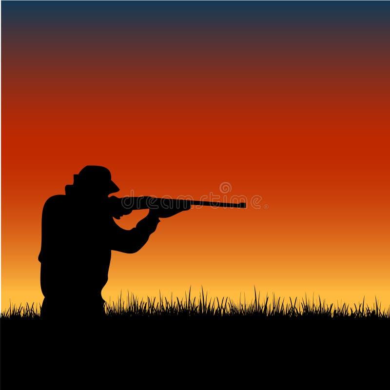 Silueta del cazador en la puesta del sol ilustración del vector