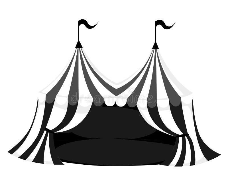 Silueta del circo o de la tienda del carnaval con las banderas y ejemplo rojo del vector del piso en la página blanca del sitio w ilustración del vector